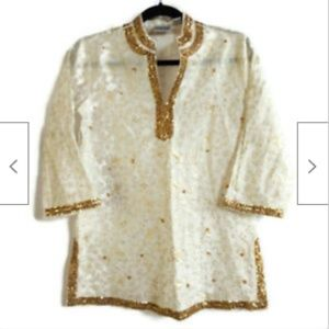 Chico's ivory gold shimmer lightweight tunic 4